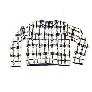 Liz Claiborne Vintage White Black Grid Sweater | S